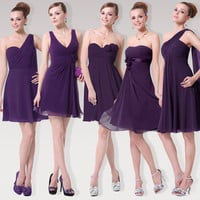 Pretty girl Purple Chiffon bridesmaid dress sisters dress short  Wedding Party Dress bridal female Bridesmaid Dresses 9 styles