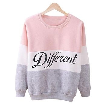 Three Color Accent Different Printed Sweatshirt