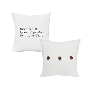 Set of 2 Binary Code throw pillows- Covers and or Cushions - 14x14 and 16x16