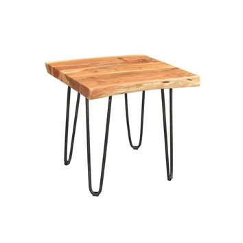 Modern Industrial Driftwood Live Edge Solid Acacia Reproduction Side Table with Hairpin Legs