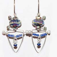 One of  a Kind Sterling Silver,& Lampwork Glass Bead Earrings