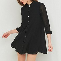BDG Grandad Collar Shirt Dress - Urban Outfitters