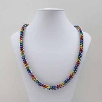 Rainbow chainmail necklace, Full Persian weave, gay pride jewelry