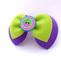Plum and lime green hair bow on barrette clip with button accent.