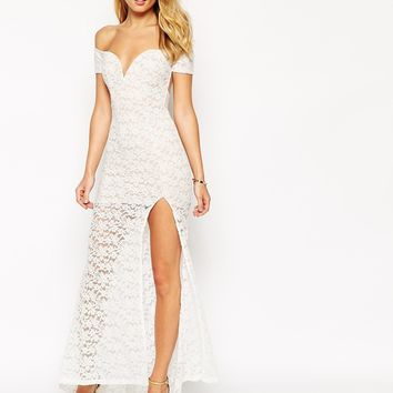 Ginger Fizz Lace Off Shoulder Maxi Dress