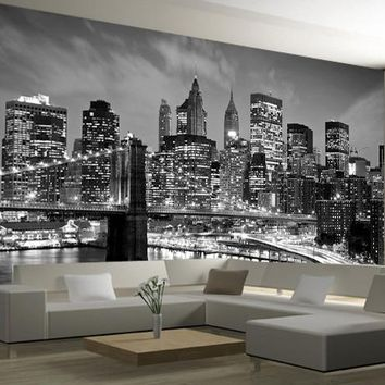 New York City Night Scenery 3d Photo Mural Wallpaper Landscape Black&White Living Room 3d Wall Murals TV Background Wall sticker