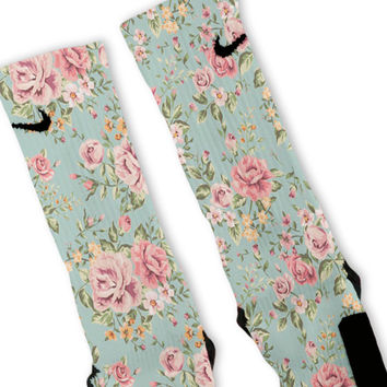 Floral Blue Custom Nike Elite Socks
