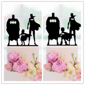 Batman Dark Knight gift Christmas Family Style Topper Batman and Batwomen with Batkids Cake Topper for  Wedding / Brithday Party Cake Decorating Baby Shower Favor AT_71_6