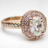 Engagement Ring - Oval Diamond Engagement Ring with double halo and diamond band in 14K Pink Gold 0.52 tcw. - ES321RG