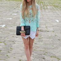 Green Crochet Lace Blouse