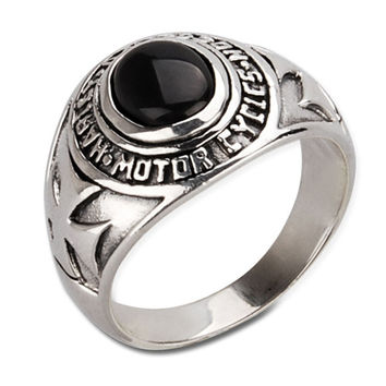 Men's Tidal Ring Black Onyx Stone & .925 Thai Silver Cool Jewelry-Size 7