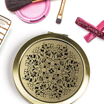 Refined Elegance Compact Mirror in Black and Gold Florals