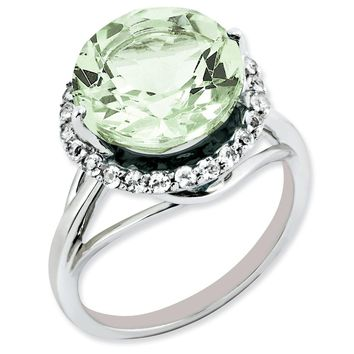 Sterling Silver White Topaz & Green Quartz Ring