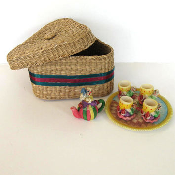 Child's Tea Set,  Wicker basket, Vintage toy, kids