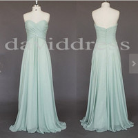 Long Mint Chiffon Bridesmaid Dresses Party Dresses Prom Dresses Homecoming Dresses 2014 New Wedding Fashion
