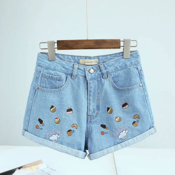 Cake Embroidered High Waist Denim Shorts