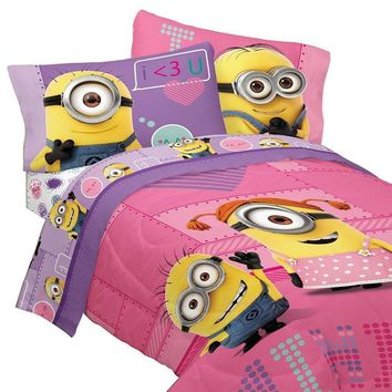 Despicable Me Minions Bedding and Curtain Set Pink Way 2 Cute Comforter Sheet Set and Drapes