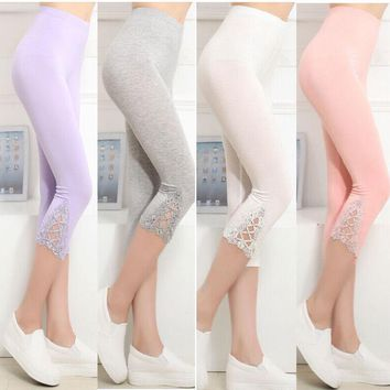 Women Printed High Waist Leggings Fitness Stretch Cropped Pants Skinny Calf-Length Pants