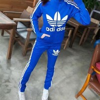 """Adidas"" Women Sport Casual Stripe Letter Print Zip Cardigan Long Sleeve Coat Set Two-Piece Sportswear"