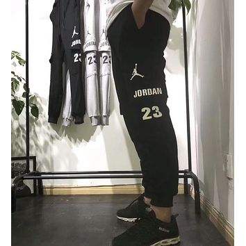 Nike Jordan Popular Women Men Casual Logo Print Long Sports Pants Trousers Sweatpants Black I-XMCP-YC