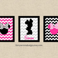 Set of 3 Minnie Mouse Pink Chevron Custom Name Printable Wall Art