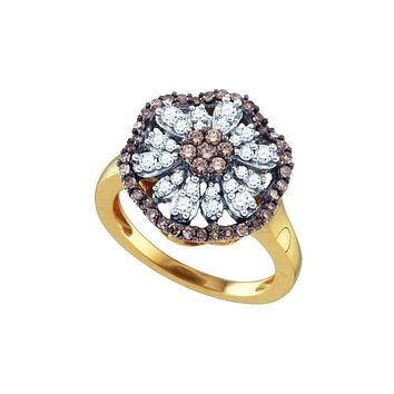10k Gold Women's Cognac-brown Round Diamond Flower Cluster Ring - FREE Shipping (US/CA)