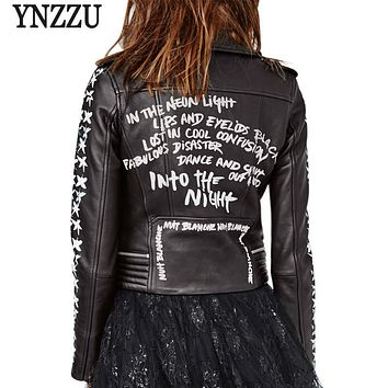 YNZZU 2017 New Autumn Women Faux Leather Jacket Fashion Street Black Letter Print Slim Zipper Female Basic Jackets Coats YO240