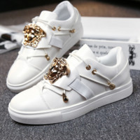 Versace Fashion Casual White Big Logo Low Help Flat Running Sports Shoes Sneakers G