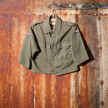 Halloween costume vintage woman's Holland army shirt field jacket military shirt olive green canvas jacket military  jacket camo army shirt