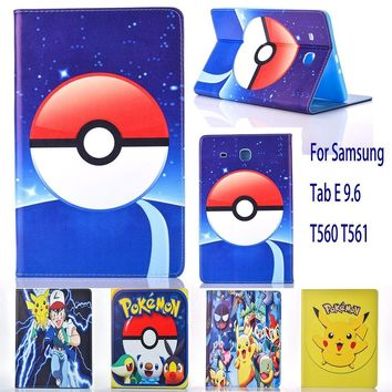 Case For Samsung Galaxy Tab E 9.6 T560 T561 case  Go cute Pikachu tablet Cover Flip stand shell coque paraKawaii Pokemon go  AT_89_9