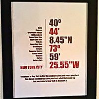 "City Coordinates Art Print 16"" x 20"" Framed New York City by whohearsahorton"