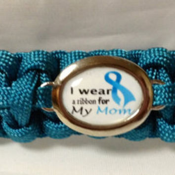 Custom Handmade Paracord Bracelet for Ovarian Cancer Awareness-I Wear Ribbon For My Mom