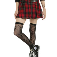 Red & Black Plaid Buckle Skirt
