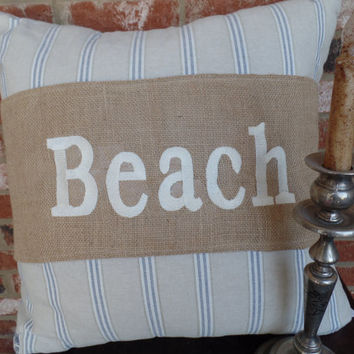 "Burlap Pillow Wrap  for a 16"" or 18"" pilow with embroidered ""Beach"""