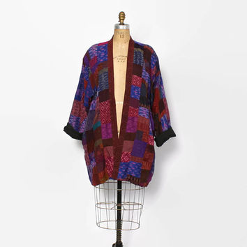 Vintage 90s SILK Jacket / 1990s patchwork Jewel Tone Thai Silk Duster