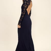 Whenever You Call Navy Blue Lace Maxi Dress