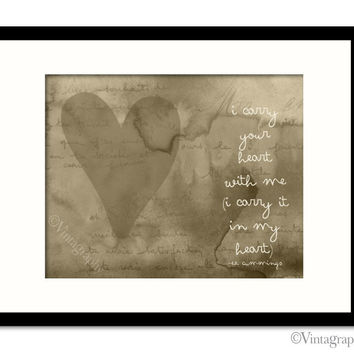 I CARRY YOUR HEART - Vintage Taupe Art Print