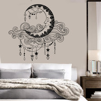 Vinyl Wall Decal Moon Clouds Bedroom Decor Stickers Mural (ig3694)
