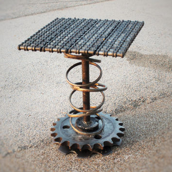Steampunk Metal Art Table, Welded Furniture, Modern Art Sculpture by Recycled Salvage