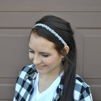 Elle Beaded Headband in Crystal and Silver from That's so Fletch Boutique