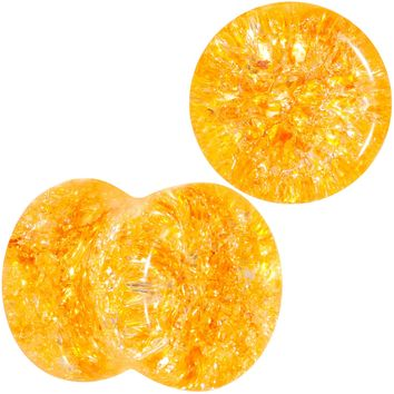 0 Gauge Yellow Shattered Glass Mellow Sunshine Saddle Plug Set