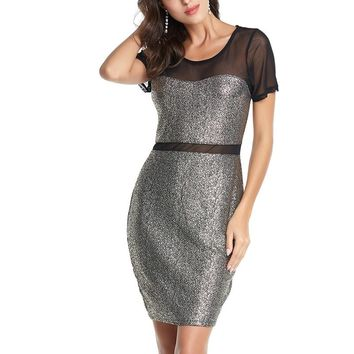 Women's Sexy Gray Bodycon Midi Dress With Mesh Lace Neck and Sleeves.    In Sizes Small to Large.   ***FREE SHIPPING***