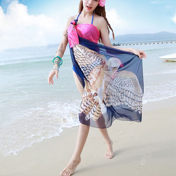 Fashion Owl Women's Lady Summer Long Soft Chiffon Beach Scarf Wrap Shawl Stole