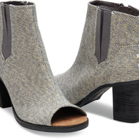 CASTLEROCK GREY METALLIC LINEN WOMEN'S MAJORCA PEEP TOE BOOTIES