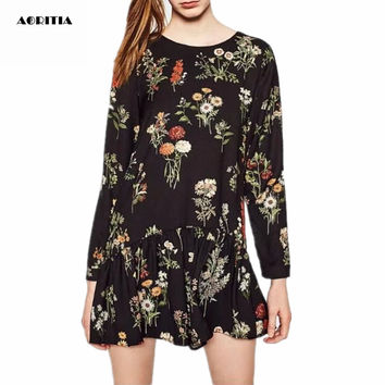 2017 Women Spring Long-Sleeve Floral Print Playsuits Black Chiffon Jumpsuit Playsuits Overalls Women
