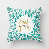 Treat Yo Self – Gold & Turquoise Throw Pillow by Cat Coquillette