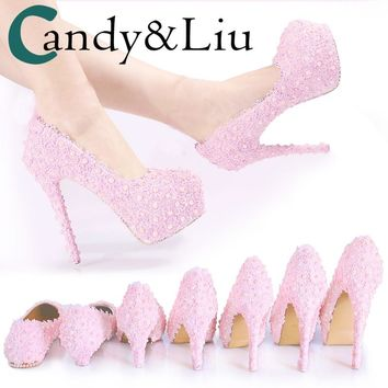 Women Pumps Wedding Shoes Pink Lace Flowers Pearl Bridesmaid Princess Girls Gift Shoes 14-15cm Female High Heels