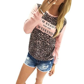 Leopard Loose Long Sleeve Tee Shirt