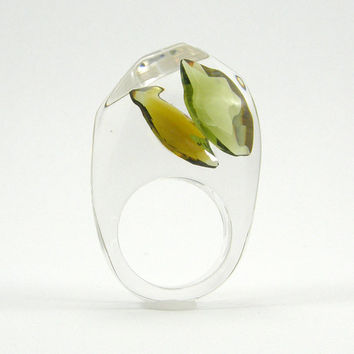 Green Olive Crystal Ring, Clear Resin Ring with Two Teardrops Warm Jade Zirconia, Modern Jewelry