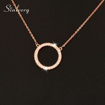 SINLEERY Shiny Paved Tiny Crysral Circle Round Necklaces & Pendants Silver/Rose Gold Color Chain Jewelry For Women XL089 SSB